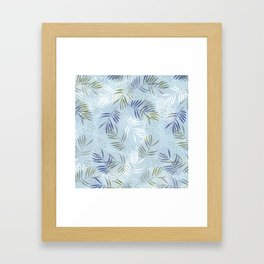 Pretty tropical Palm leaf pattern illustration - blue, kaki #tropicalart Framed Art Print