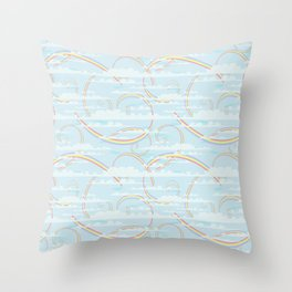 Rainbow Swirls with Clouds Throw Pillow