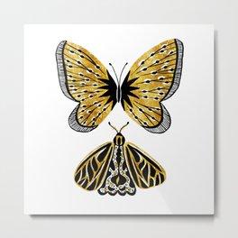 Golden Butterfly & Moth Metal Print