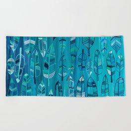 Indigo Feathers Beach Towel