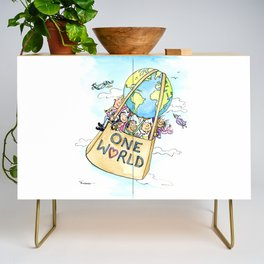 One World Together Eco Art Credenza