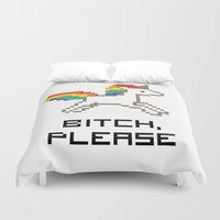 8 bit Duvet Covers featuring 8-bit Unicorn by Molly Quist