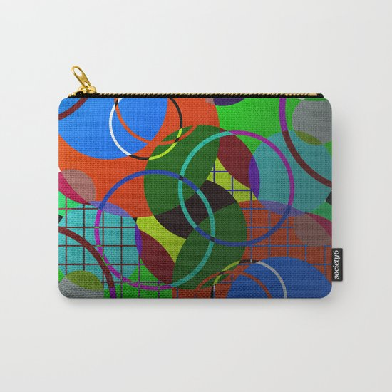 Caged Geometry - Abstract, metallic, geometric, rainbow coloured circles Carry-All Pouch