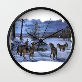 Beautiful artwork in a scenic lake setting with a full moon shining and the pack is howling! Wall Clock