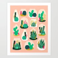 garden Art Prints featuring Terrariums - Cute little planters for succulents in repeat pattern by Andrea Lauren by Andrea Lauren Design