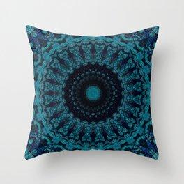 Mandala in light and dark blue tones Throw Pillow