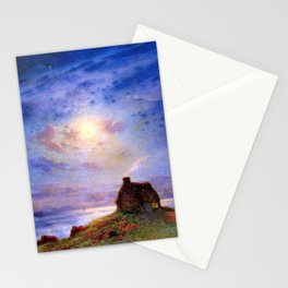 Stone Cottage by the River under Moonlight pastoral landscape painting by Ferdinand Du Puigaudeau Stationery Cards