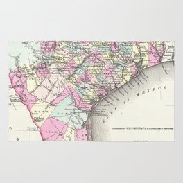 Vintage Map of Coastal Texas (1855) Rug