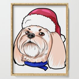 Shih Tzu Dog Christmas Hat Present Serving Tray