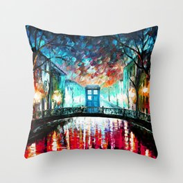Tardis With Beautiful Starry Night Throw Pillow