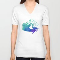 canada V-neck T-shirts featuring Canada by Stephanie Wittenburg