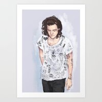 coconutwishes Art Prints featuring Harry 1D tattoos T-shirt by Coconut Wishes