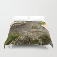 sloth Duvet Covers featuring Sloth by MehrFarbeimLeben