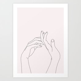 Hands line drawing illustration - Abi Natural Art Print