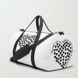 Hearts Heart Teacher Black on White Duffle Bag