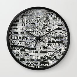 Confused Images Behind the Interface (P/D3 Glitch Collage Studies) Wall Clock