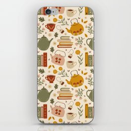 Flowery Books and Tea iPhone Skin