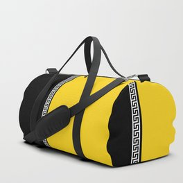 Greek Key 2 - Yellow and Black Duffle Bag