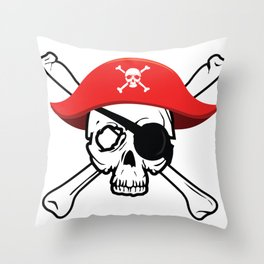 Pirate Skull and Crossbones with Red Hat and Eye Patch Throw Pillow