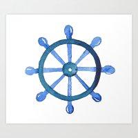 Navigating the seas Art Print