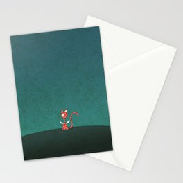 Small winged polka-dotted red cat Stationery Cards