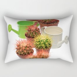 Bunch of multicolor cactuses and watering cans Rectangular Pillow