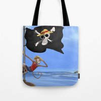 luffy Tote Bags featuring Monkey D Luffy by Laércio Messias