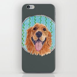 You're Never Fully Dressed without a Smile, Golden Retriever, Whimsical Watercolor Painting, Grey iPhone Skin
