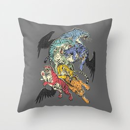 Seven Caged Tigers Throw Pillow