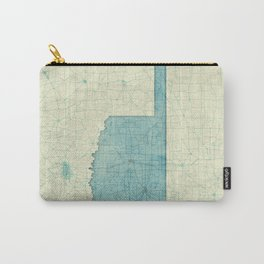 Oklahoma State Map Blue Vintage Carry-All Pouch