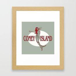 Coney Island Mermaid Framed Art Print