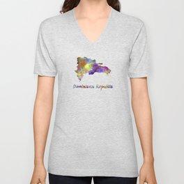 Dominican Republic in watercolor Unisex V-Neck