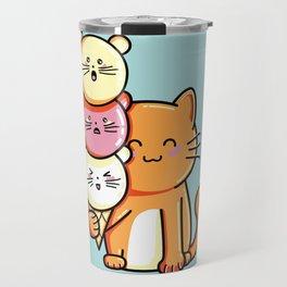 Kawaii Cute Cat and Micecream Travel Mug