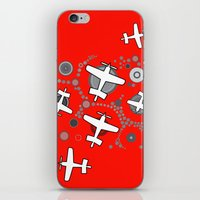 airplanes iPhone & iPod Skins featuring airplanes in red by Isabella Asratyan