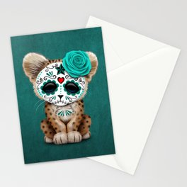 Blue Day of the Dead Sugar Skull Leopard Cub Stationery Cards