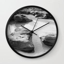 Rugged Rocks at Beach Wall Clock