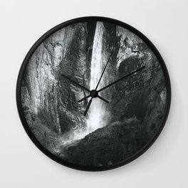 Bridalveil Falls. Yosemite California in Black and White Wall Clock