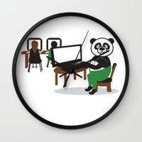 teacher Wall Clocks featuring Panda Teacher by WCVS Online