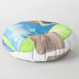 180819 Geometrical Watercolour 8| Colorful Abstract | Modern Watercolor Art Floor Pillow