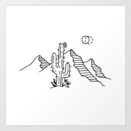 Desert Saguaro Cactus Mountain Range Under Double Moon Art Print