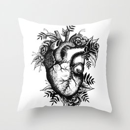 Stitched up anatomical heart Throw Pillow