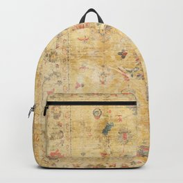 Craft Carpet Century Authentic Colorful Dull Yellow Golden Distressed Vintage Rug Pattern Backpack