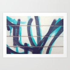 Teal and Black Grafitti Art Print