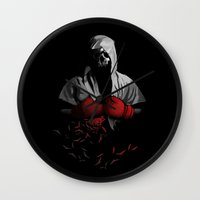 boxing Wall Clocks featuring Death Boxing by tshirtsz