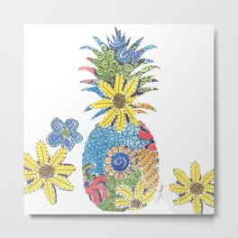 Tropical Pineapple by Sandy Thomson Metal Print