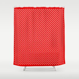 Tiny Paw Prints Pattern - Bright Red & White Shower Curtain