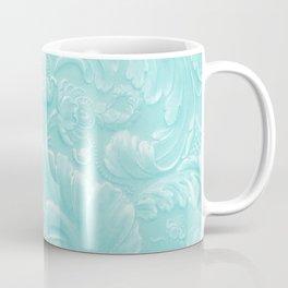 Robin Egg Blue Tooled Leather Coffee Mug