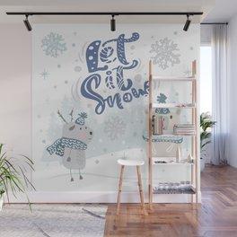 Let It Snow Winter Fun Illustration Wall Mural