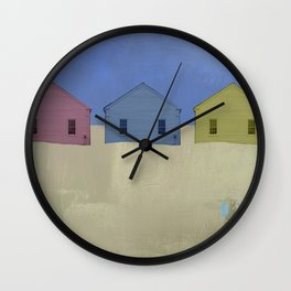 Beach Cottages, colorful houses, coastal, row houses Wall Clock