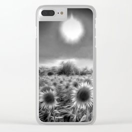 Monochrome Moonlight Sunflowers Clear iPhone Case